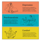 Concept psychotherapy of three illustrations Stock Photos