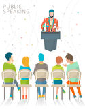 Concept of public speaking. / speaker's stand / press conference / vector illustration Royalty Free Stock Photography