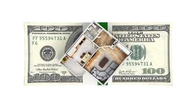 Concept of purchase or payment for housing Apartment layout with a stack of money american hundred dollar bills isolated on white. Background 3d vector illustration