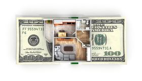 Concept of purchase or payment for housing Apartment layout with a stack of money american hundred dollar bills isolated on white. Background royalty free illustration