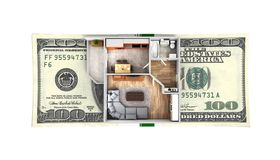 Concept of purchase or payment for housing Apartment layout with a stack of money american hundred dollar bills isolated on white. Background 3d stock illustration