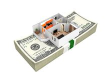 Concept of purchase or payment for housing Apartment layout with a stack of money american hundred dollar bills isolated on white. Background 3d without shadow vector illustration