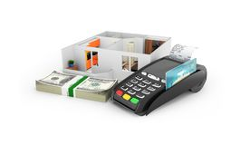 Concept of purchase or payment for housing Apartment layout with a stack of money american hundred dollar bills and POS terminal. With empty screen isolated on vector illustration
