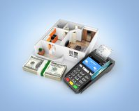 Concept of purchase or payment for housing Apartment layout with a stack of money american hundred dollar bills and POS terminal. Isolated on blue gradient vector illustration