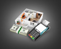 Concept of purchase or payment for housing Apartment layout with a stack of money american hundred dollar bills and POS terminal. Isolated on black gradient vector illustration