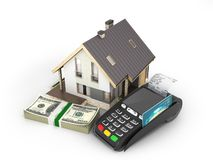 Concept of purchase or payment for housing House with a stack of money american hundred dollar bills and POS terminal isolated on. White background royalty free illustration