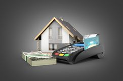 Concept of purchase or payment for housing House with a stack of money american hundred dollar bills and POS terminal isolated on. Black gradient background royalty free illustration