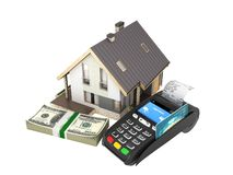 Concept of purchase or payment for housing House with a stack of money american hundred dollar bills and POS terminal isolated on. White background 3d royalty free illustration