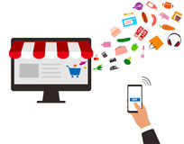 Concept of purchasing product at internet, mobile shopping. Buy. Online, vector illustration Stock Photography