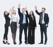 Business team pointing hands forward Royalty Free Stock Image