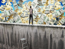 The concept of the pursuit of success A man on top of the wall a. Nd money  3d render Royalty Free Stock Photo