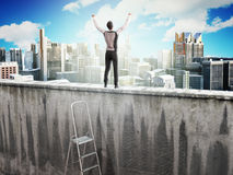 The concept of the pursuit of success A man on top of the wall. 3d render Royalty Free Stock Image