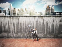 The concept of the pursuit of success A man will climb a wall al. Ong a ladder 3d Stock Photography