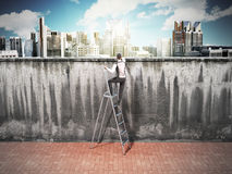 The concept of the pursuit of success A man will climb a wall al Stock Photos