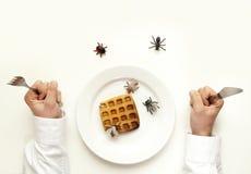 Concept putréfié de nourriture. Équipez tenir la fourchette et les insectes et les insectes de couteau Image stock
