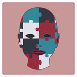 Concept puzzled face. Solution, vector vector illustration