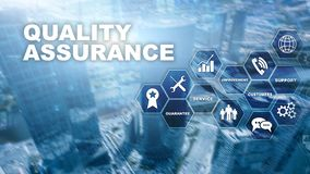 The Concept of Quality Assurance and Impact on Businesses. Quality control. Service Guarantee. Mixed media. The Concept of Quality Assurance and Impact on royalty free illustration