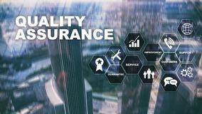 The Concept of Quality Assurance and Impact on Businesses. Quality control. Service Guarantee. Mixed media. The Concept of Quality Assurance and Impact on stock illustration