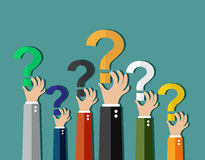 Concept of questioning,. Hands holding question marks. vector illustration in flat design on green background Stock Images