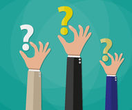 Concept of questioning, hands question marks. Concept of questioning, hands holding question marks. vector illustration in flat style on green background Royalty Free Stock Photo