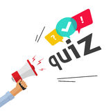 Concept of questionnaire show sing, question competition banner, exam. Hand holding bullhorn shouting quiz text and speech bubble symbols, concept of Stock Image