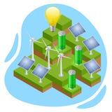 Concept qui respecte l'environnement et vert isométrique d'énergie ?nergie renouvelable illustration stock