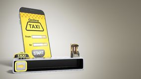 Concept of a quick taxi order from a mobile phone 3d render on g Royalty Free Stock Image