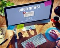 Concept quotidien d'annonce de bulletin d'information d'actualités de marchandises Image libre de droits