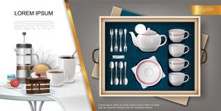 Concept réaliste d'argenterie et de vaisselle de cuisine illustration libre de droits