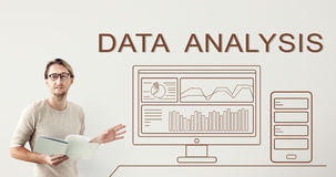 Concept récapitulatif d'ordinateur de progrès d'Analytics de données images stock