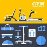 Concept réglé d'appartement de séance d'entraînement d'équipement d'exercice de gymnase de sport de forme physique Illustration d illustration de vecteur