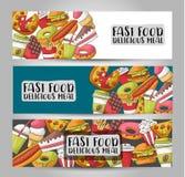Concept réglé de bannière horizontale d'aliments de préparation rapide Calibre de publicité de restaurant Image stock