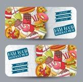 Concept réglé de bannière horizontale d'aliments de préparation rapide Calibre de publicité de restaurant avec les coins ronds Photo libre de droits
