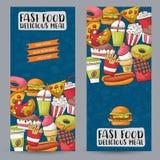Concept réglé de bannière verticale d'aliments de préparation rapide Calibre de publicité de restaurant Photographie stock