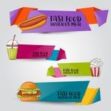 Concept réglé de bannière verticale d'aliments de préparation rapide Calibre de publicité de restaurant Autocollants et labels de Photographie stock libre de droits