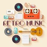 Concept réglé de calibre d'infographics de cercle de rétro musique d'équipement Les icônes conçoivent pour votre produit ou conce Image libre de droits