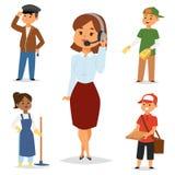 Concept réglé de recrutement du JOB temporaire de caractères de vecteur de professions du travail à temps partiel de personnes Di Image stock