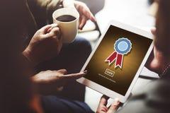 Concept réussi de concurrence de champion de récompense d'insigne photos libres de droits