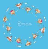 Concept rêveur pour le voyage avec des ballons à air Photographie stock libre de droits