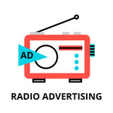 Concept of radio advertisement. Modern flat thin line design vector illustration, concept of radio advertisement, for graphic and web design Royalty Free Stock Images