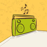Concept of radio with musical notes. Stock Images