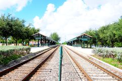 Concept of train station in perspective view. Perspective view of train station. Photographed in South Florida Stock Photo