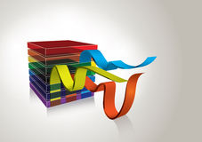 Concept rainbow cube vector background. 3d transparent cube with rainbow colors and waving stripes stock illustration