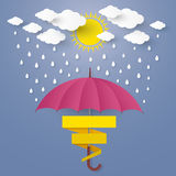 The Concept is Rainy season. umbrella in the air with cloud and Royalty Free Stock Images