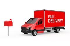 Concept rapide de la distribution La livraison industrielle commerciale rouge de cargaison Photos libres de droits