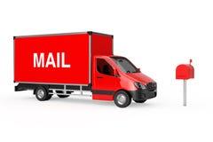 Concept rapide de la distribution La livraison industrielle commerciale rouge de cargaison Images stock