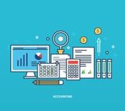 Concept - rapportering, soorten en methodes van economische boekhouding, beheer planning royalty-vrije illustratie