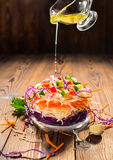Concept of raw food like sandwich with white, red cabbage, carro Royalty Free Stock Photos