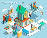 The concept of reading books and learning in the library.Isometric flat design. Vector Vector Illustration