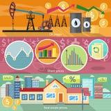 Concept Real Estate-Prijsolie en Aandelen Royalty-vrije Stock Fotografie